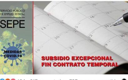 Subsidio excepcional por fin de contrato temporal