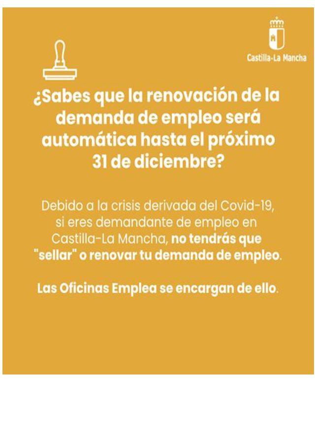 Si eres demandante de empleo y tienes que renovar o «sellar» tu demanda, ¡esta info te interesa! 👇 ℹ ¡Las Oficinas Emplea CLM  se encargan de todo hasta el 31 de diciembre y la renovación será automática!
